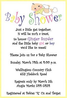 Getting the baby shower invitation wording right filmwisefo Image collections